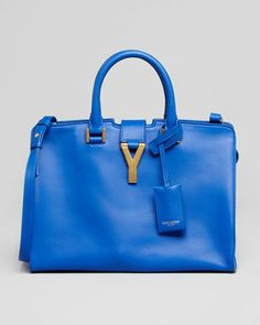 Y-Ligne Cabas Mini Leather Bag, Cobalt by Saint Laurent at Neiman Marcus.