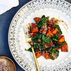 Za'atar Sweet Potatoes and Garlicky Kale