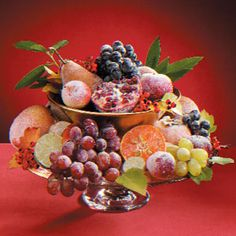 """How To: """"Sugared Fruit Recipe""""  THANKSGIVING CENTERPIECE..eye-catching but edible as well."""