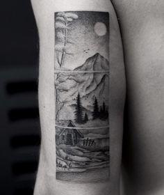 Segmented mountain and landscape tattoo by Balazs Bercsenyi