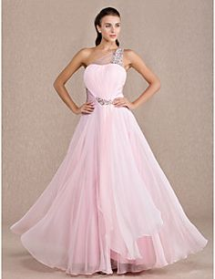 TS Couture® Prom / Formal Evening / Military Ball Dress - Open Back Plus Size / Petite A-line One Shoulder Floor-length Chiffon / Stretch Satin – USD $ 99.99