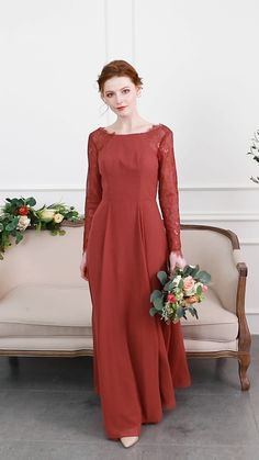 New Arrival Bridesmaid Dresses & Gowns - 2020 new arrival long sleeves Lace bridesmaid dress with chiffon skirt in Canyon Rose - Lace Bridesmaid Dresses, Satin Dresses, Prom Dresses, Gowns, Wedding Dresses, Muslim Women Fashion, Chiffon Skirt, Ao Dai, Rose Wedding