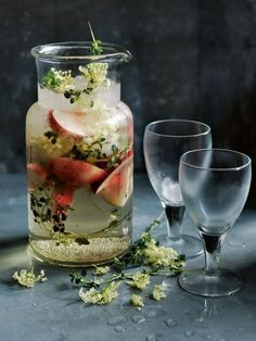 Thirsty Thursday - Champagne cocktail features delicious elderflower and fresh white peaches. YUM!!