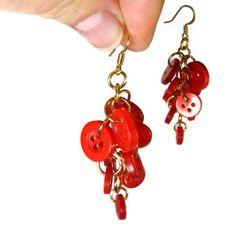 Red Earrings, Button Dangle Earrings, Cluster Earrings