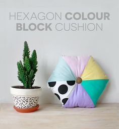 Hexagon Colour Block Cushion