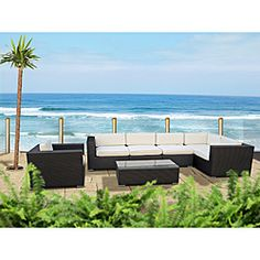 @Overstock - Perfect when entertaining or for everyday relaxation, this modular sofa set can be moved or adjusted in dozens of configurations. Move seats apart for separate chairs or put them together for intimate sofa seating.http://www.overstock.com/Home-Garden/Corona-Outdoor-Patio-Espresso-and-White-7-Piece-Sectional-Sofa-Set/6468059/product.html?CID=214117 $1,689.99