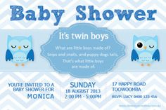 Print your own invites. Twin Baby Shower Invitations - owl design