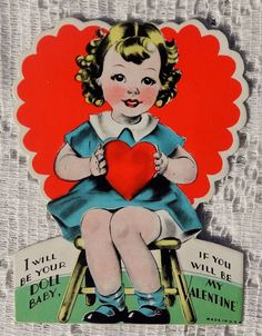 VINTAGE 1930'S VALENTINE GREETING CARD - I WILL BE YOUR DOLL BABY