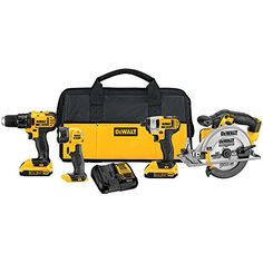"""Amazon has the DEWALT 20V MAX Combo Kit, Compact 4-Tool (DCK421D2) marked down from $449.00 to $242.99. That is 46% off retail price! TO GET THIS DEAL: GO HERE to go to the product page and click on """"Add to Cart"""" Final price = $242.99 Shipping is free on any purchase with your Prime Membership… Dewalt Cordless Tools, Dewalt Power Tools, Cordless Power Tools, Dewalt Drill, Cordless Drill Reviews, Steel Shoes, Impact Driver, Drill Driver, Amazon Deals"""