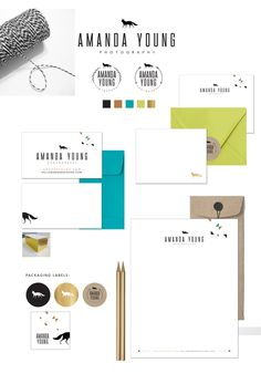 Amanda Young Photography Branding, Brand identity, photographer brand, triangles, gold, black, lime, arrows, fox, foil, kraft, kraft labels, gold labels, modern brand