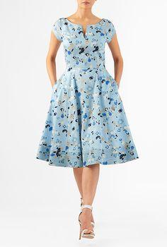 I <3 this Floral print cotton satin split neck dress from eShakti