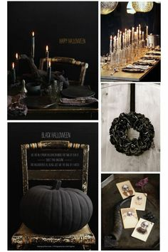 Halloween ideas  - love the black pumpkin