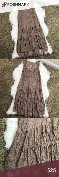 [Altar'd State] Brown Lace Dress Cute light brown floral lace dress with layered bottom. This dress is just lace so a slip would be needed if wearing as a dress. Low crew neck line. Great condition! Altar'd State Dresses