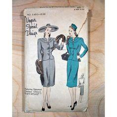 1940s Vogue Special Design Vintage Suit Sewing Pattern S - 4513 Sz 12 Bust 30 di pastperfectvintage su Etsy https://www.etsy.com/it/listing/219749914/1940s-vogue-special-design-vintage-suit