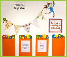You can easily display student work in the hallway by taking a piece of construction paper and adding these cute buttons to the top.  Then, laminate and cut slits to add paperclips to each one.  Now you have a super cute way to display student work throughout the whole year! To finish the look, be sure to add some Sock Monkeys Accents and a Sock Monkey Poster. Check out the rest of the theme! $ www.ClassroomInspirations.com