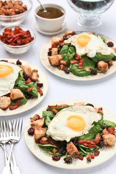 Breakfast Salad with Cinnamon Toast Croutons and Maple Vinaigrette