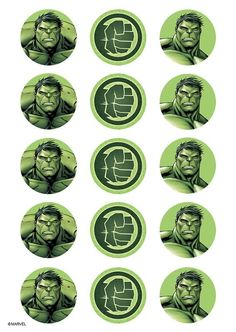 1 x sheet of 15 incredible hulk cupcake sized round icing images. features the incredible hulk design is mostly shades of olive greens 10 with the fierce Hulk Party, Superhero Theme Party, Hulk Cupcakes, Marvel Cupcakes, Hulk Avengers, Hulk Marvel, Ms Marvel, Marvel Art, Captain Marvel