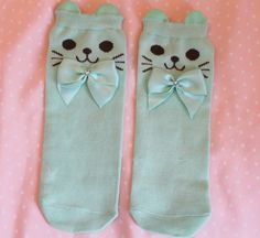 Green-blue Kitten Sock with Ears (restocked!<3) · Kitten's Playpen · Online Store Powered by Storenvy