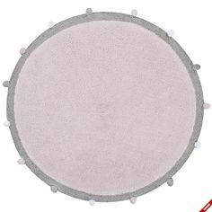 Różowy dywan BUBBLY z brązową obwódką - NieMaJakwDomu