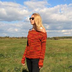 Orange Red Burgundy Flecked Pullover /Handknitted Red Loose