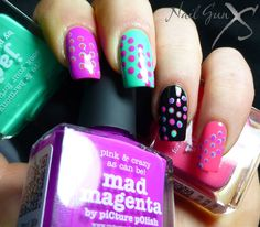 piCture pOlish Blog Fest 2013 mani art by Bec aka Nail Gun XS!  Features Jade, Mad Magenta & Watermelon  #ppblogfest2013  www.picturepolish.com.au