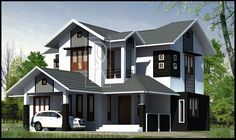 Pretty Sloping Roof Homes, Good Looking Exterior, Excellent Designs, Latest 2 Floor Selected Collections, Best 4 Bedroom House Plans Kerala Style Architect Brick House Plans, Narrow Lot House Plans, Modern House Plans, Modern House Design, Modern Houses, Modern Courtyard, Courtyard House Plans, 4 Bedroom House Plans, Cottage House Plans