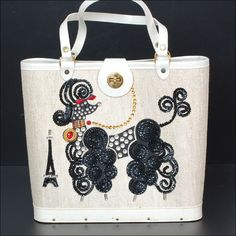 Poodle Canvas Handbag adorned with sequin and plastic rhinestones to form the image of a poodle and Eiffel Tower as she strolls the streets of Paris Vintage Purses, Vintage Bags, Vintage Handbags, Poodles, Vinyl Trim, Vintage Swim, Canvas Handbags, Oui Oui, Paris