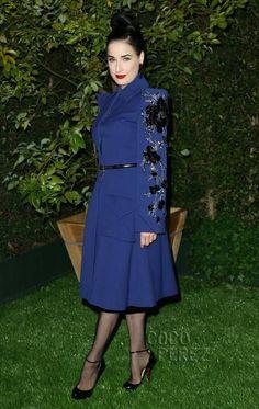 Dita Von Teese wears Christian Dior coat to LoveGold party honoring Julianne Moore.