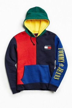7da6e0c851a7 Tommy Hilfiger  90s Colorblock Hoodie Sweatshirt  MensFashionEdgy Tommy  Hilfiger Outfit