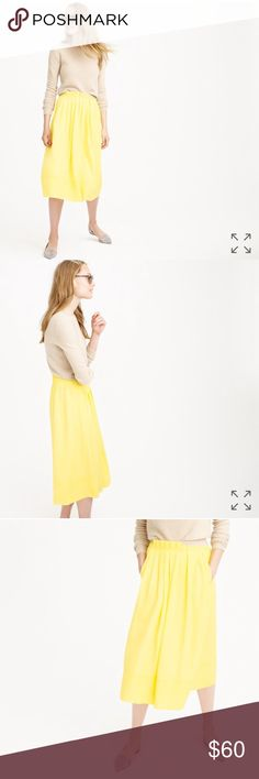 "J.Crew Pleated Midi Skirt - Lemon Yellow New with tags - absolutely gorgeous skirt that's super versatile (I own in several colors). About 29"" long, elastic waistband (28"" relaxed). Also, it has pockets! My photos are darker, but it's not as bright as the photos from the website. J. Crew Skirts Midi"