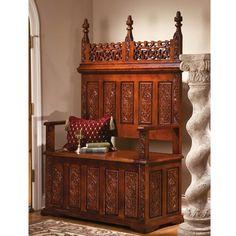 York Monastery Wood Storage Bench in 2020 Furniture Medieval home decor Entryway bench storage