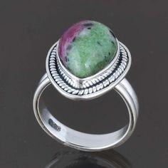 925 STERLING SILVER LADIS RUBY ZOSITE RING 5.41g DJR8177 SZ-5 #Handmade #Ring