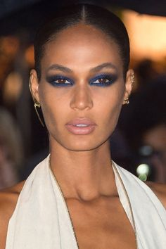 10 new ways to wear a smoky eye this winter: Joan Smalls' blue eye shadow look