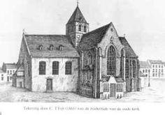 oude kerk - afgebroken 1866 De oude Sint-Gertrudiskerk ...  ...zou in het jaar 1098 reeds op haar plaats gestaan hebben, waar nu het marktplein is. Het was een kruiskerk met een Romaanse toren en een kerkhof rondom. Het koor en de kruisbeuken stamden uit de gotische periode. De binnenmuren waren witgekalkt behalve een gewelf waarop een nachtelijke hemel met sterren geschilderd was. De oude kerk kende een bewogen geschiedenis:  zij was het doelwit van Gentse geuzenbenden. van beeldenstormers…