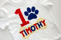 Paw Patrol Birthday Shirt - Boys - First Birthday - Second Birthday - Applique - Custom - Personalized - Dogs - Puppy