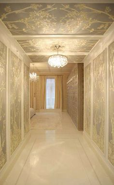 Luxe entrance to a master suite. Love the beautiful story in this DeGourney paper. ScX