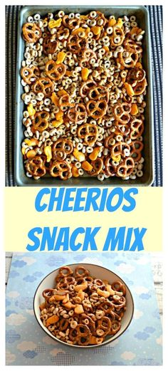 Cheerios Snack Mix is a delicious and easy to make snack. #snackmix #cereal #partymix #snackrecipes | Snack Recipes | Party Mix | Snack Mix Recipes | Cheerios | Cereal | Cereal Recipes | Pretzels | Goldfish | Kid Friendly Food | Kid Food Easy To Make Snacks, Easy No Bake Desserts, Snack Mix Recipes, Cereal Recipes, Good Food, Yummy Food, Homemade Snickers, Cheerios Cereal, Food Now