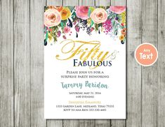 flower water color 50th Birthday Invitation for Women, 50 and Fabulous Invitations, 50th Birthday Invites, Milestone Birthday Invitation by ABCSongShop on Etsy