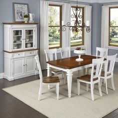 Home Styles Americana Kitchen and Dining Furniture Collection Antique White Finish, Orange