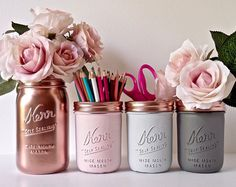 Or Decor - Decor maison bureau - peint Mason Jar - pot à crayon - Vase rose menthe crème or cuivre gris Rose Dorm par BeachBlues
