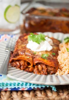 Bean & Cheese Enchiladas - made completely from scratch using pantry staples
