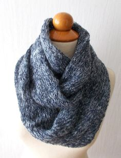 infinity scarves in a circle   Infinity Scarf Knitted Tube Circle Scarf In Darl/ Light Blue for Men ...