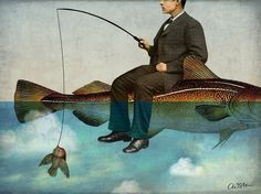 """""""Sky Fishing"""" Graphic/Illustration by Catrin Welz-Stein posters, art prints, canvas prints, greeting cards or gallery prints. Find more Graphic/Illustration art prints and posters in the ARTFLAKES . Art And Illustration, Art Du Monde, Magic Realism, Fish Art, Art Design, Surreal Art, Oeuvre D'art, Fantasy Art, Fine Art Prints"""