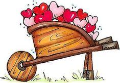 Wheelbarrow of Love - Gardening - Floral/Garden - Rubber Stamps - Shop Art Calendar, Calendar Design, Valentines Art, Valentine Day Cards, Cute Clipart, Rock Crafts, Love Images, Wheelbarrow, Heart Art