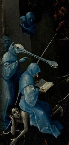 demon reads sitting on a reprobe. Detail from The Garden Of Earthly Delights, Hieronymus Bosch, 1490 - demon reads sitting on a reprobe. Detail from The Garden Of Earthly Delights, Hieronymus Bosch, 1490 - 1510 Renaissance Kunst, Renaissance Paintings, Jan Van Eyck, Arte Tribal, Garden Of Earthly Delights, Dutch Painters, Medieval Art, Fantastic Art, Macabre