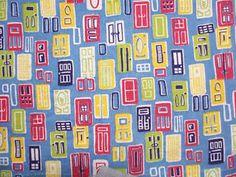 Pair-Vintage-Feedsacks-BC11-Red-wh-lime-dk-bl-ylw-on-Lt-Blue-DOORS-34-X-43