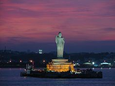 the famous Buddha statue in Hussain Sagar Lake, Hyderbad - India