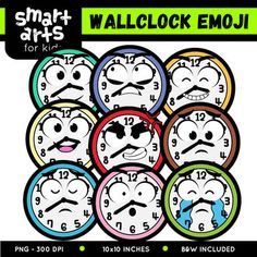 "Wall Clock Emoji Clip Art Check out the BUDGET BUNDLE of this Emoji Clip Arts - Bundle Clip art Link Included in this Product: • 9 Full Colored items • 9 Black and white items • 18 pieces clip art in total • Each clip art saved separately in 1,""x1,"" 3,, dpi PNG files, transparent background *Colors might be slightly different due to different screen color..."