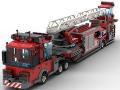 LEGO Tiller fire engine - building instructions and parts list. Lego City Fire Truck, Fire Trucks, Custom Lego, Custom Trucks, Lego Technic Truck, Lego Wheels, Minecraft, Lego Fire, Lego Modular