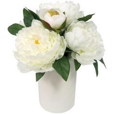 Artificial Peony Arrangement ($20) ❤ liked on Polyvore featuring home, home decor, floral decor, white, artificial plants, white blossom tree, white flower tree, white artificial flowers and peony silk flowers